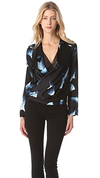 Diane von Furstenberg New Issie Blouse with Long Sleeves
