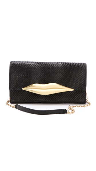 Diane von Furstenberg Carolina Lips Raffia Clutch
