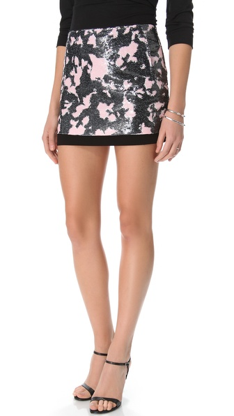 Diane von Furstenberg Elley Print Sequin Skirt
