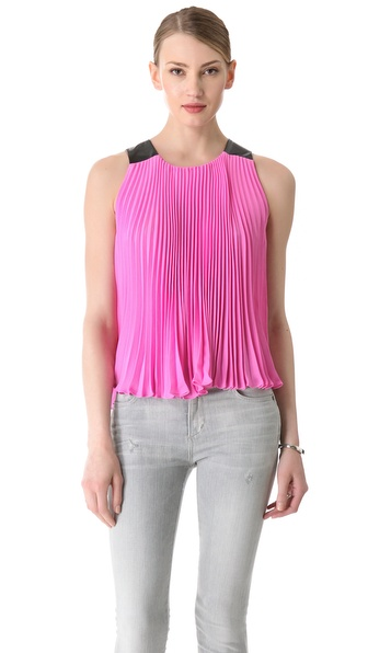 Diane von Furstenberg Idaline Pleated Top with Faux Leather