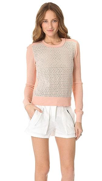 Diane von Furstenberg Jordana Lace Front Sweater