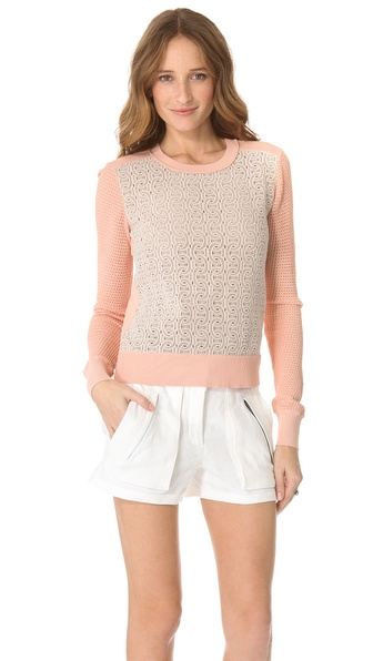 Diane von Furstenberg Jordana Lace Front Sweater