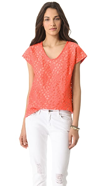 Diane von Furstenberg Acedia Shadow Dot Lace Top
