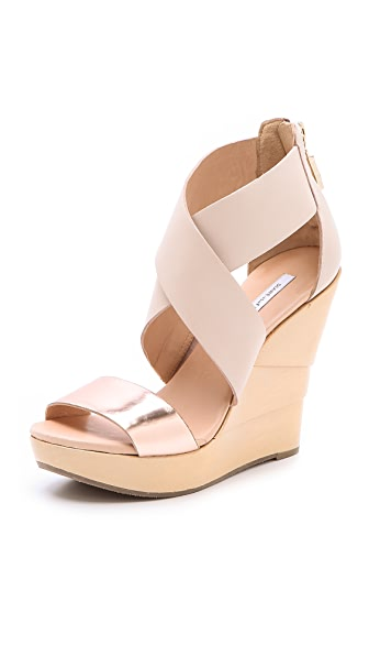 Diane von Furstenberg Opal Lacquered Wedge Sandals