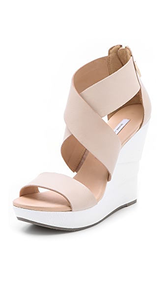 Diane von Furstenberg Opal White Lacquered Wedge Sandals