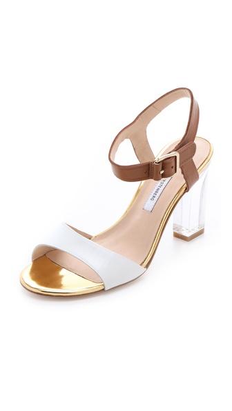 Diane von Furstenberg Patmos Sandals with Lucite Heel