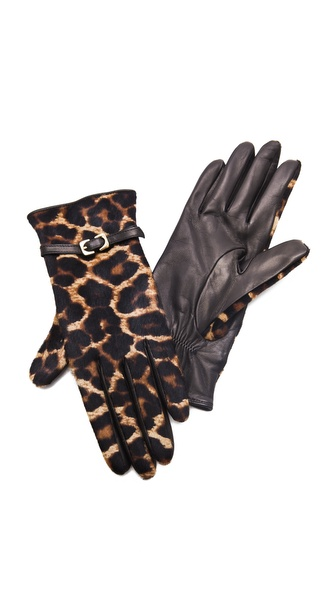 Diane von Furstenberg Buckle Haircalf Gloves