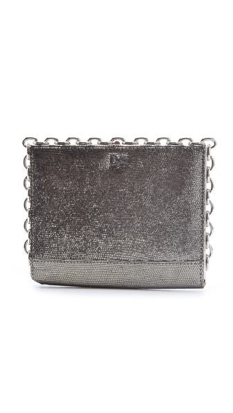 Diane von Furstenberg Catena Metallic Clutch