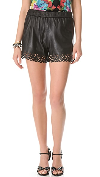 Diane von Furstenberg Andi Laser Cut Leather Shorts