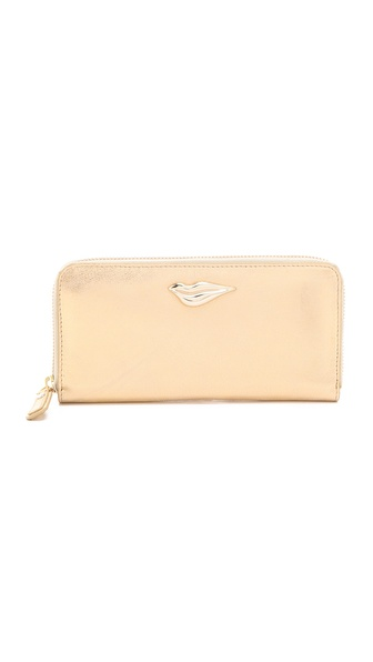 Diane von Furstenberg Lips Zip Around Metallic Continental Wallet