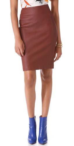 Diane von Furstenberg Marta Leather Pencil Skirt