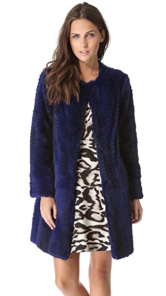 Diane von Furstenberg Candice Rabbit Fur Coat