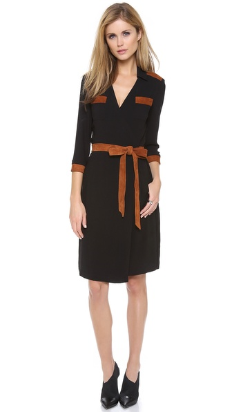 Diane von Furstenberg Jacki Dress with Suede Trim