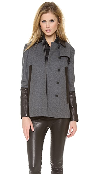 Diane von Furstenberg Eva Leather Trim Coat