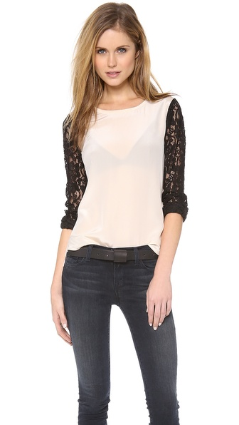 Diane von Furstenberg Lace Sleeve Louise Top