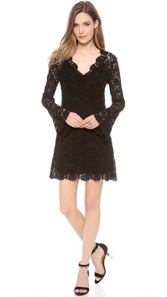 Diane Von Furstenberg Hippolyte Crochet Dress - Black