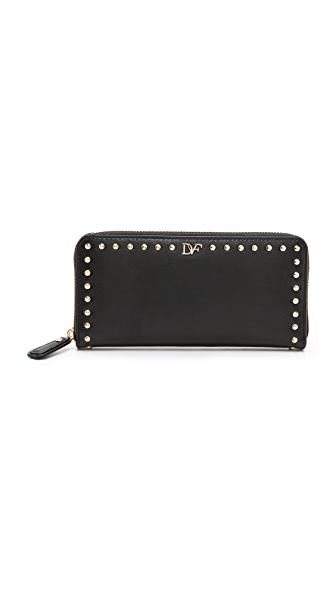 Diane von Furstenberg Studded Leather Zip Around Wallet
