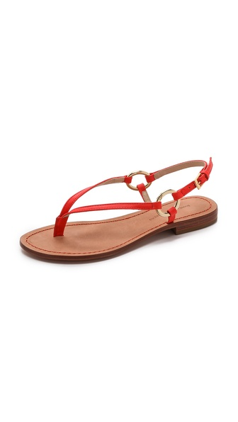 Diane Von Furstenberg Cailin Flat Thong Sandal With Rings - Electric Tangerine