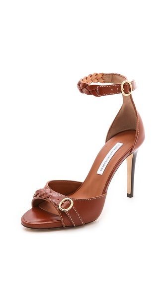 Diane Von Furstenberg Selma Braided High Heel Sandals - Brandy