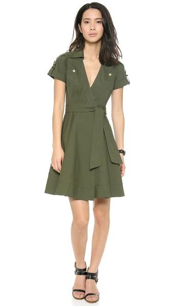 Diane Von Furstenberg Kaley Collared Wrap Dress - Olive Nite