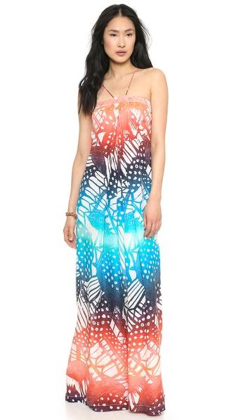 Diane Von Furstenberg Annie Printed Maxi Dress - April Oasis Ombre Coral