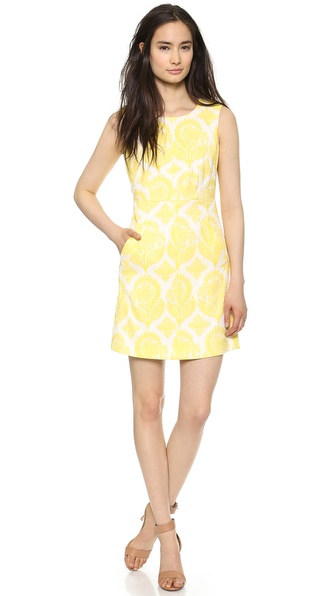 Diane Von Furstenberg Carpreena Mini Floral Dress - Canary Yellow/White