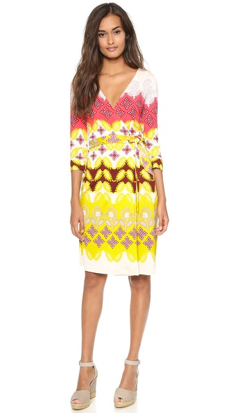 Diane Von Furstenberg New Julian Two Wrap Dress - Indian Borders Yellow