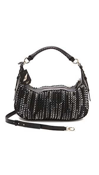 Diane von Furstenberg Sutra Knit Leather Zip Hobo Bag