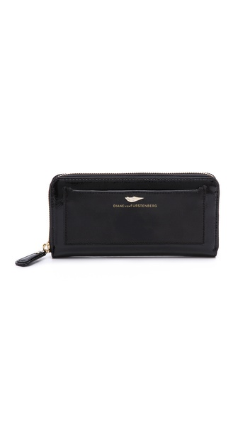 Diane von Furstenberg Flirty Zip Around Wallet in Patent Leather