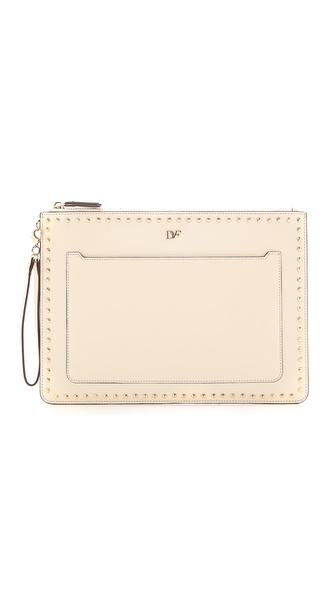 Diane Von Furstenberg On The Go Pouch Studded Leather - Parchment