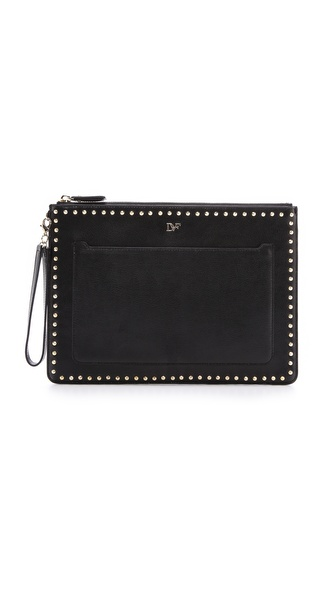 Diane Von Furstenberg On The Go Pouch Studded Leather - Black