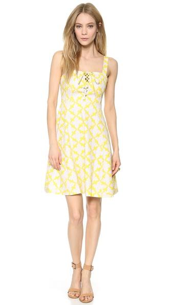 Diane Von Furstenberg Luxe Lace Up Dress - Henna Diamonds Yellow