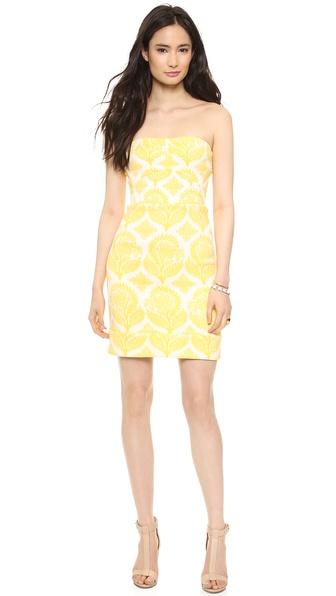 Diane Von Furstenberg Garland Strapless Dress - Canary Yellow/White