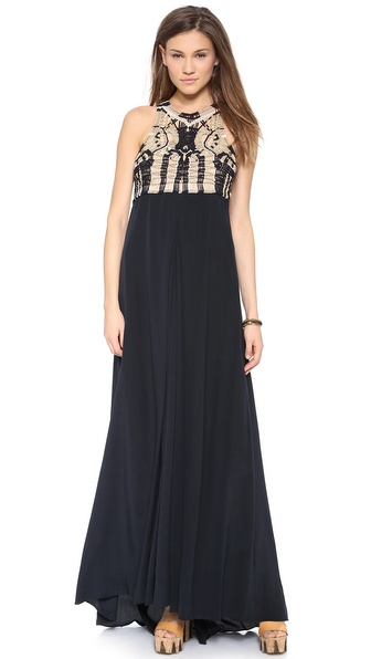 Diane Von Furstenberg New Darina Gown - Black/New Pearl/Gold