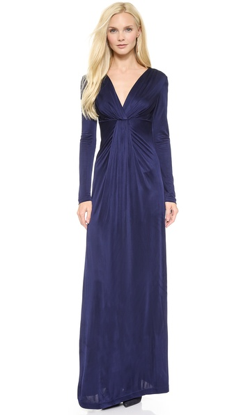Diane von Furstenberg Long Sleeve V Neck Gown