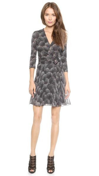 Shop Diane von Furstenberg online and buy Diane Von Furstenberg Irina Wrap Dress Spray Dots Multi online