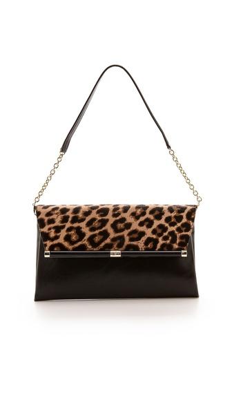 Diane Von Furstenberg 440 Large Haircalf Clutch - Leopard/Black