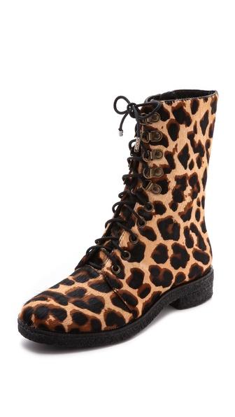 Diane Von Furstenberg Ace Combat Boots - Leopard