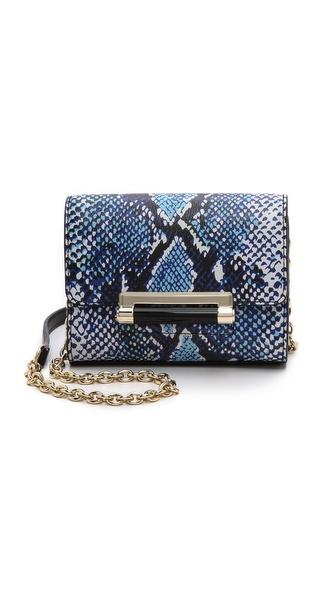 Diane Von Furstenberg 440 Heritage Print Micro Mini Bag - Python Medium Blue