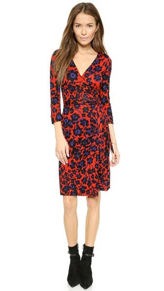 Diane Von Furstenberg New Julian Two Wrap Dress - Cheetah Floral Large Red