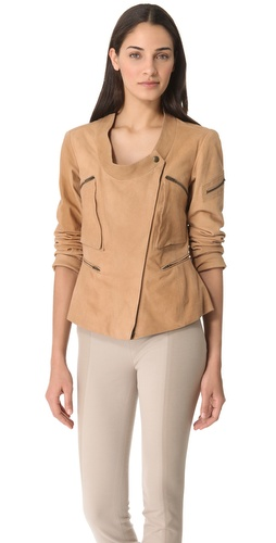 Donna Karan New York Collarless Asymmetrical Zip Jacket