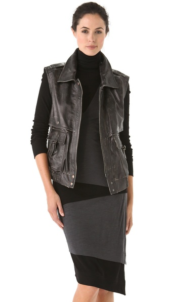 Donna Karan New York Leather Moto Vest