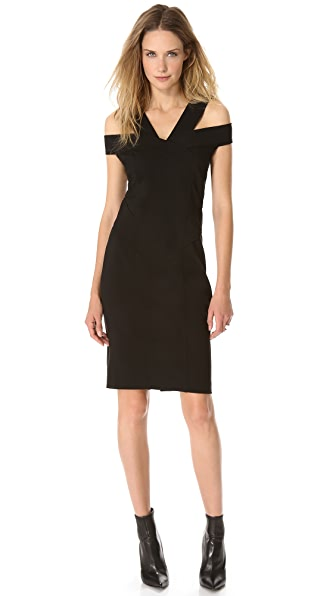 Donna Karan New York Off Shoulder Pieced Dress