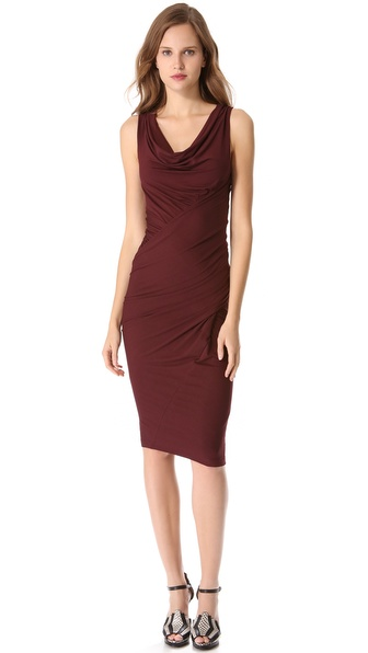 Donna Karan New York Sleeveless Draped Jersey Dress