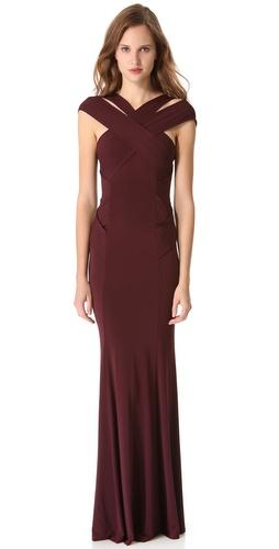 Donna Karan New York Cross Neck Evening Gown