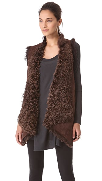 Donna Karan New York Reversible Draped Long Vest