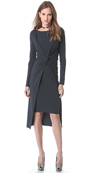 Donna Karan New York Cross Drape Knot Dress