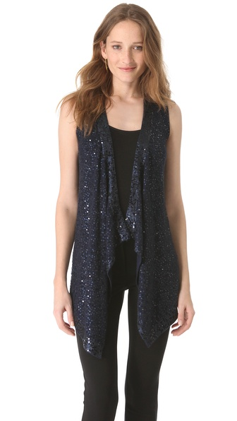 Donna Karan New York Sequin Long Drape Vest