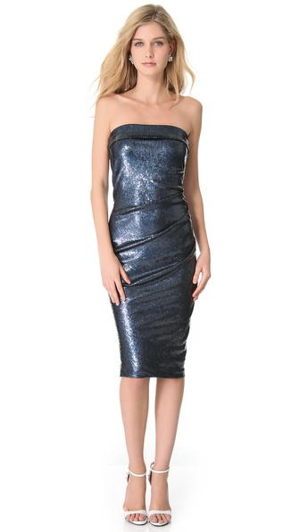 Donna Karan New York Twisted Tube Sequin Dress