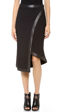 Donna Karan New York Wrap Skirt with Leather Trim